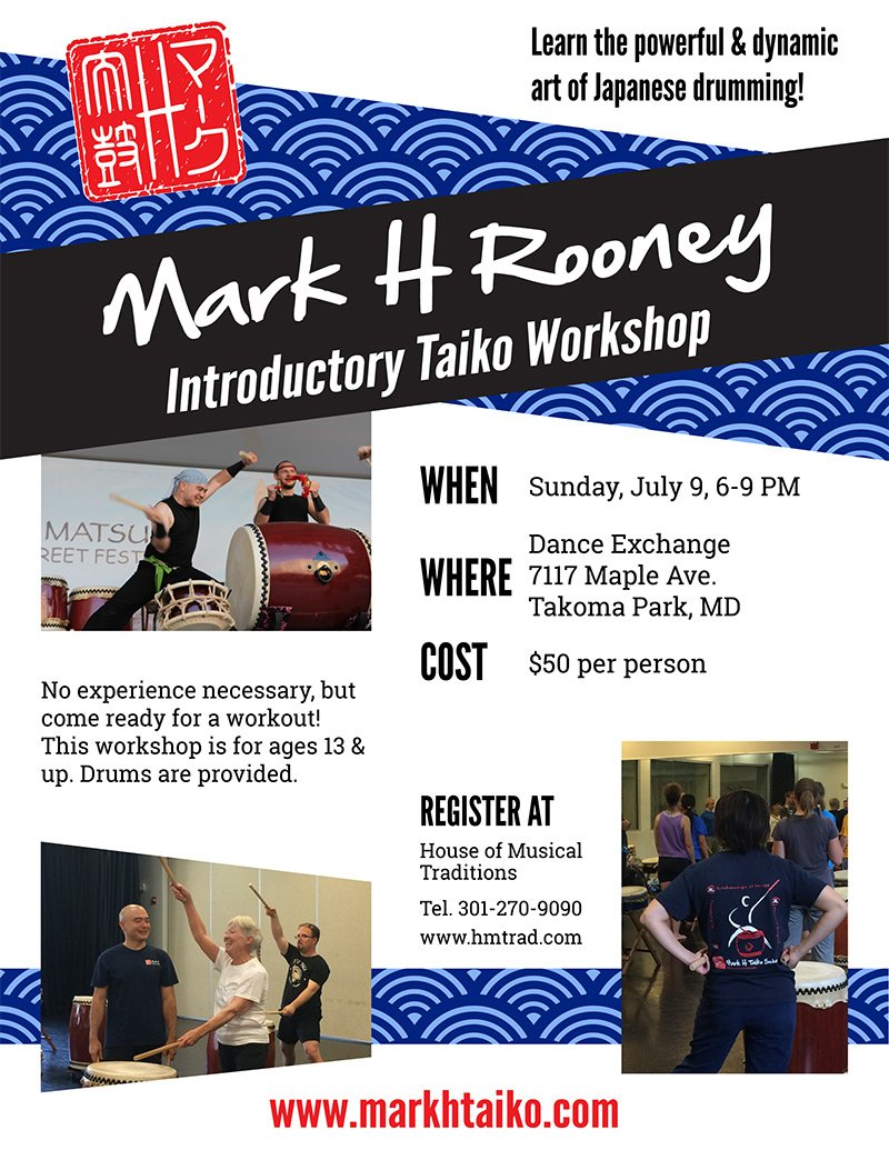 Mark H Rooney Introductor Taiko Workshop flyer